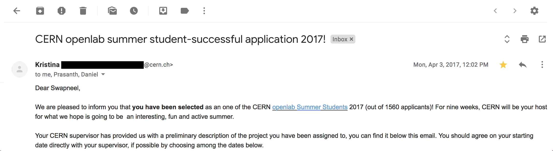 The Openlab Summer Student Program Selection Email